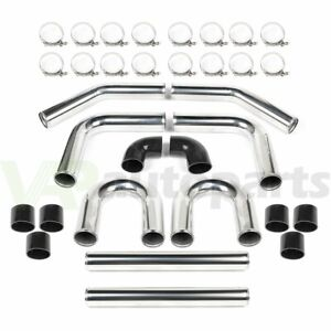 Universal 3 In 8pcs Turbo Intercooler Pipe Kit Host Clamp Silicone 76mm