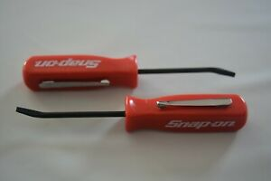 Promotional Snap On Tools Mini Pocket Pry Bar With Clip Flat Tip Red Handle 2 Pc