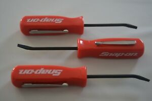 Promotional Snap On Tools Mini Pocket Pry Bar With Clip Flat Tip Red Handle 3 Pc