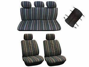 New 10pc Low Back Cabo Inca Saddle Mexican Blanket Seat Covers Cars Suvs
