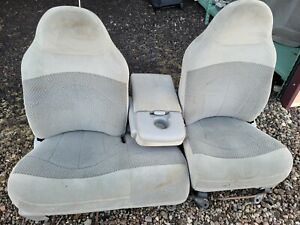 2000 Ford F150 F 150 60 40 Grey Cloth Split Bench Seat With Flip Down Console