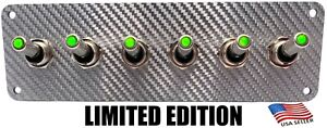 Limited Edition Silver Carbon Fiber 6 Toggle Switch Panel Green Leds
