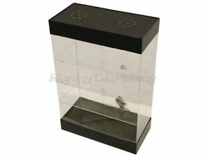 Acrylic Counter top Display Case With Led Lights And Lock 3 Rows Of Shelving