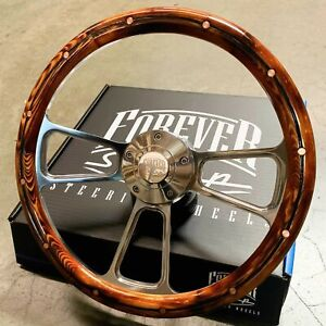 14 Billet Steering Wheel Pine Wood Brass Rivets W Billet Horn Chevy Gm