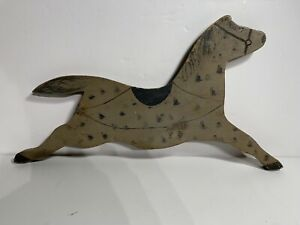 Antique American Primitive Folk Art Leaping Horse Carved Wood Wall Whimsy