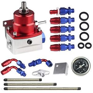 Universal Adjustable Fuel Pressure Regulator Kit An 6 Fitting End 100 Psi Gauge