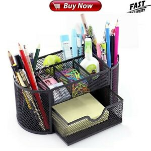Office Desk Organizer Mesh Supplies Accessories With 9 Compartments Drawer