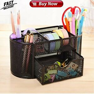 Office Desk Organizer Mesh Supplies Accessories With 8 Compartments Drawer