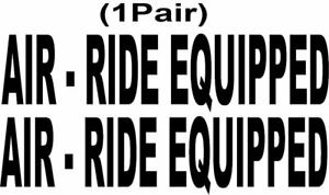 Truck Air ride Equipped Black Die Cut Safety Decal 1 Pair 3 0 X 12 5 P750