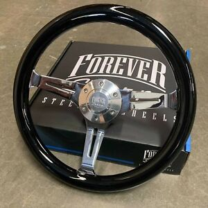 14 Chrome Steering Wheel Jet Black 6 Hole Horn For Gmc Chevy Ford Factory 2nd