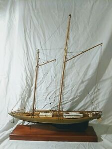 35 Vintage Detailed Wooden Schooner Ship Display Model Yacht 2mast Boat W Inlay