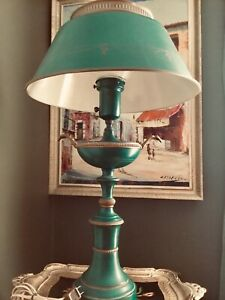 Antique Victorian Green Enamel Tole Lamp With Painted Gold Garland