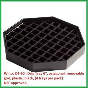 Winco Dt 60 Drip Tray 6 octagonal Removable Grid Plastic Black 4 Trays Pack