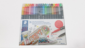 Staedtler 36 Twin Tip Permanent Pens Fine Ultra Fine Quick Drying New Sealed