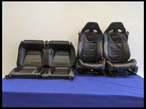 2015 2020 Ford Mustang Gt Red Stitched Leather Racing Recaro Seat Set Oem