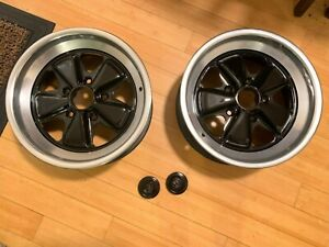 Porsche 911 Sc 3 2 7 X 16 Front Oem Fuchs Wheels Rims And Center Caps Set Of 2