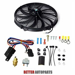 16 Inch Universal Electric Radiator Cooling Fan Thermostat Switch Kit Black