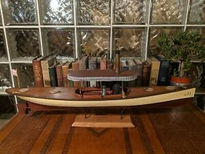 30 Steam Launch Vintage Wood Pond Yacht Model Ship Display Boat African Queen