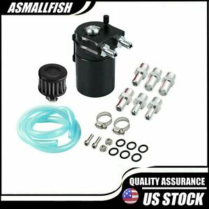 Oil Catch Can Kit Reservoir Baffled Tank With Breather Filter Universal Aluminum