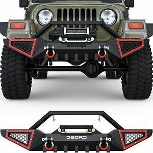 Oedro Front Bumper For 1987 2006 Jeep Wrangler Tj yj W 2x D rings Winch Plate