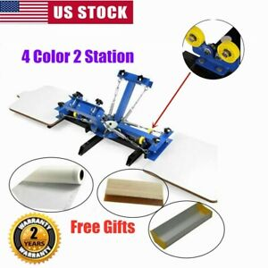 4 Color 2 Station Silk Screen Printing Press Machine For Diy T shirt Printing