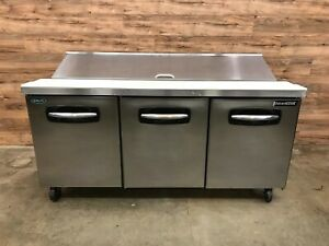 2013 Norlake Sp72 18 72 3 8 3 door Refrigerated Sandwich Prep Table 115 V