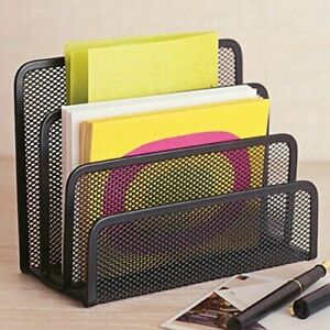 Desk Mail Organizer File Holder Letter Sorter With 3 Mesh Compartment For Office
