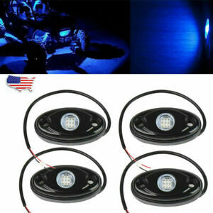 4pods Led Rock Lights Waterproof Led Neon Underglow Light For Car Truck Blue