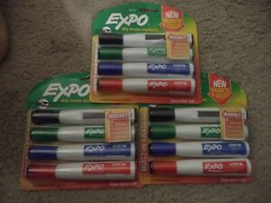 12 Expo Assorted Marker Brand Dry Erase Black Red Blue Green Chisel Tip 1944728