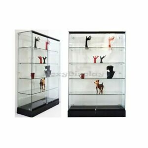 Black Rectangular Tempered Glass Tower Showcase With Locks And Shelves