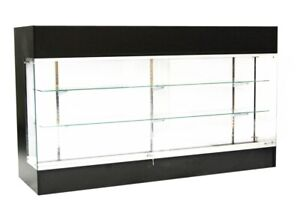 Black Laminate Wood Display Showcase Register 72 Inch Check Out Counter