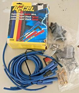 Accel 5040b Spark Plug Wire Set 8mm Universal Blue Wire With Blue Straight Boots