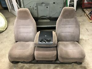 92 96 97 Ford Obs Pickup Truck Front Bucket Jump Seats 40 20 40 Tan W Mount