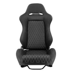 1pc Sport Racing Seat Black Pvc Leather Grey Stitching Dual Recline Right Side