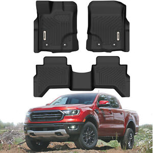 Oedro Floor Mats Tpe All Weather Guard For 2019 2021 Ford Ranger Supercrew Cab