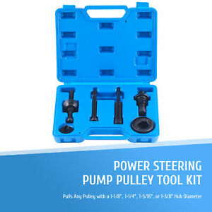 Omt 7pc Power Steering Pump Pulley Puller Installer Tool Set For Gm Ford More