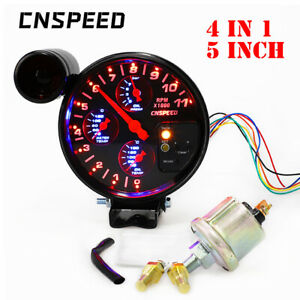 5 4 In 1 Tachometer Rpm Meter W Shift Light Water Oil Temp Oil Press Gauge