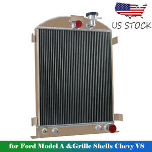 4 Rows Aluminum Radiator Fits 1928 1931 Ford Model A Grille Shells Chevy V8