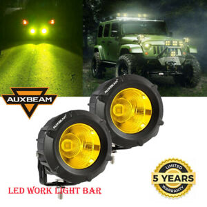Universal 2x 3inch Led Work Light Bar Yellow Spot Pods Driving Offroad Fog
