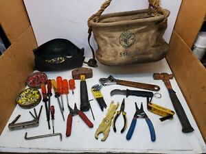 Lot Klein Canvas Tool Bag W klein Electrician Tools Pliers Screwdrivers Hammer