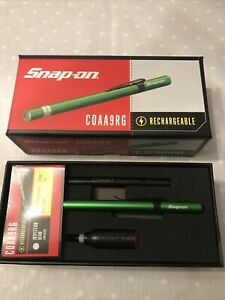 Snap On Coast Rechargeable Pen Torch Light With Mains And Car Charger Green New