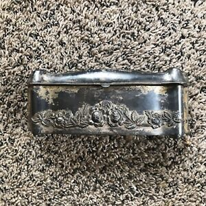 Antique 1899 Sterling Silver Jewelry Trinket Box Vintage Silver Plated Roses