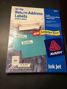 New Sealed Avery White Return Address Labels 3200 Count 8567 Ink Jet 1 2 x1 3 4