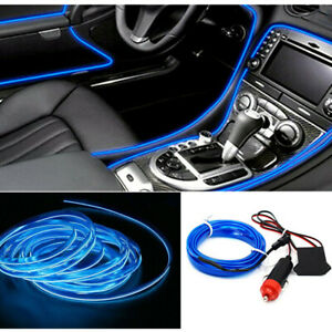 2m Led Car Auto Interior Decor Atmosphere Wire Strip Light Lamp Blue Auto Parts