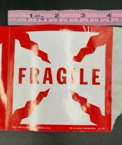 100 Large Fragile Stickers Labels 4 x4 Square