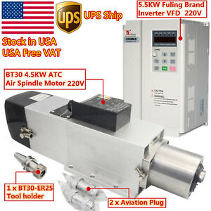 usa 4 5kw Bt30 Atc Air Cooled Spindle Automatic Tool Change 220v 5 5kw Inverter