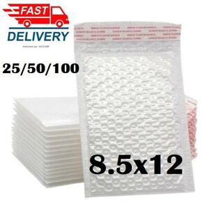 1 50pcs 8 5 x12 White Self Seal Poly Padded Bubble Mailers Envelopes