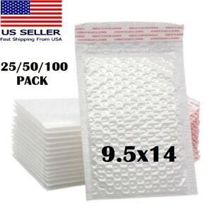 1 25 50pcs 9 5 x14 White Self Seal Poly Padded Bubble Mailers Envelopes