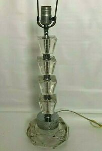 Vintage Mid Century Modern Acrylic Lucite Table Lamp Stacked Prisms