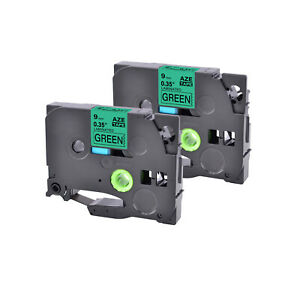 2pk Tz 721 Black On Green Label Tape Laminated 9mm Tze 721 For Brother P touch